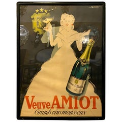 "Vintage Reproduction Poster ""Veuve Amiot Grands Vins Mousseux"" France Framed"