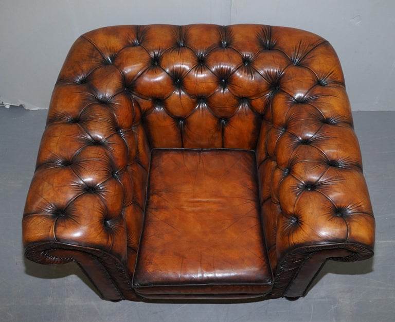 Vintage Restored Brown Leather Chesterfield Library Club Armchair and Sofa Suite For Sale 7