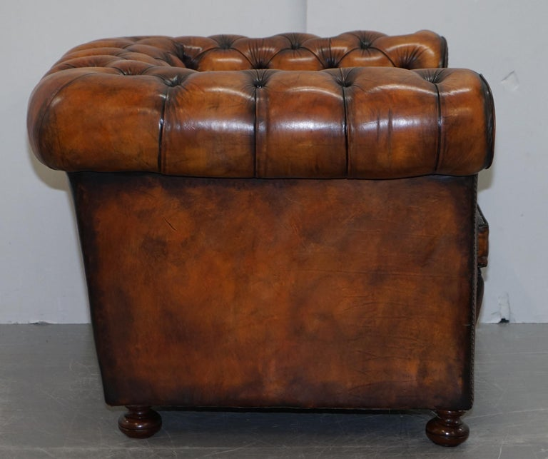 Vintage Restored Brown Leather Chesterfield Library Club Armchair and Sofa Suite For Sale 9