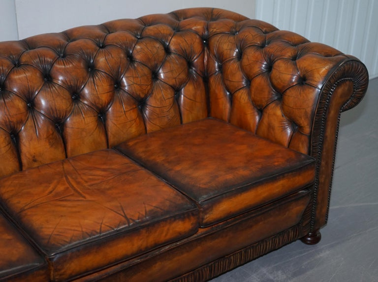 Vintage Restored Brown Leather Chesterfield Library Club Armchair and Sofa Suite For Sale 13