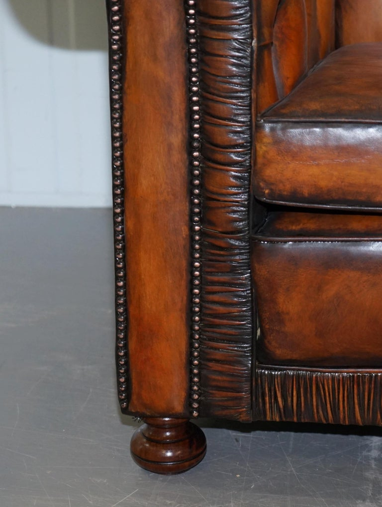 Vintage Restored Brown Leather Chesterfield Library Club Armchair and Sofa Suite For Sale 15