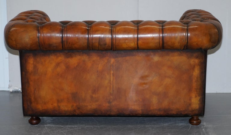 Vintage Restored Brown Leather Chesterfield Library Club Armchair and Sofa Suite For Sale 4