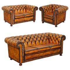 Vintage Restored Brown Leather Chesterfield Library Club Armchair and Sofa Suite