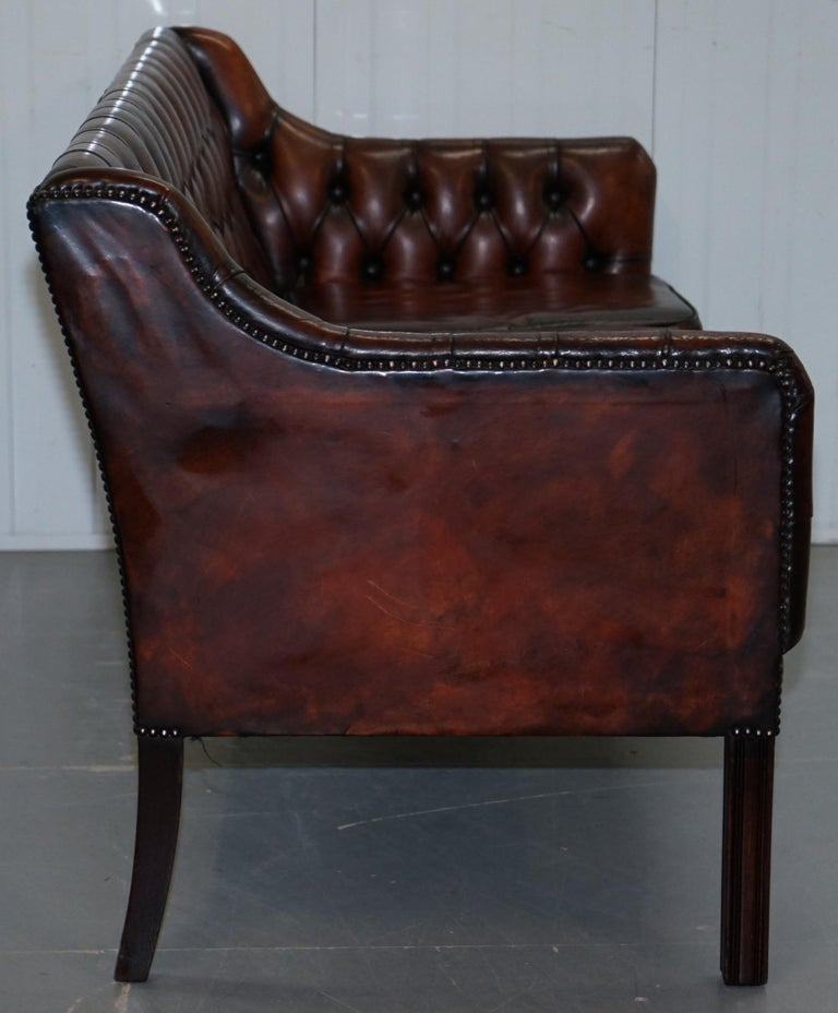Vintage Restored Chesterfield Brown Leather Gun Suite 3-Seat Sofa and Armchair For Sale 6
