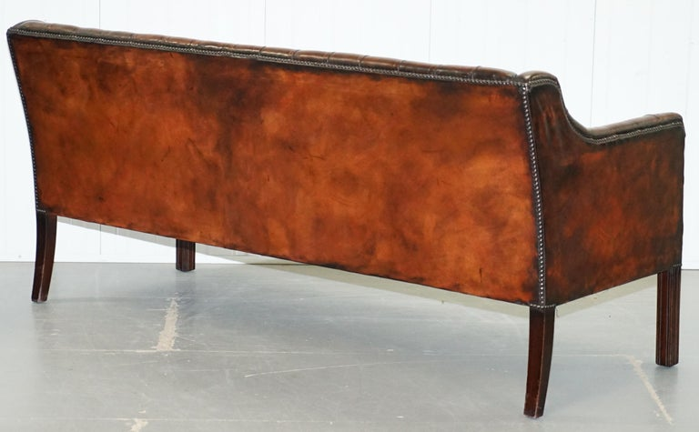 Vintage Restored Chesterfield Brown Leather Gun Suite 3-Seat Sofa and Armchair For Sale 7