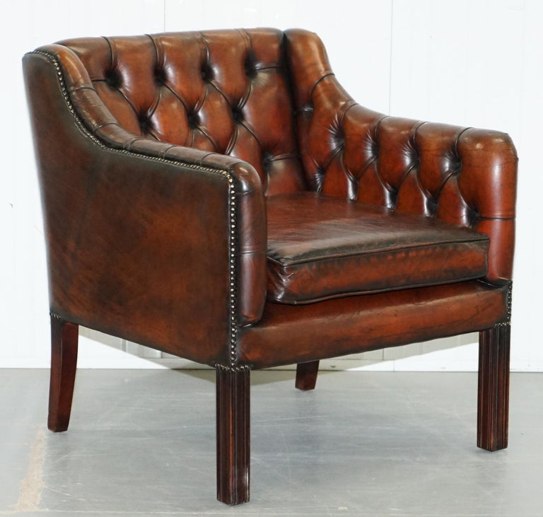 Vintage Restored Chesterfield Brown Leather Gun Suite 3-Seat Sofa and Armchair For Sale 9