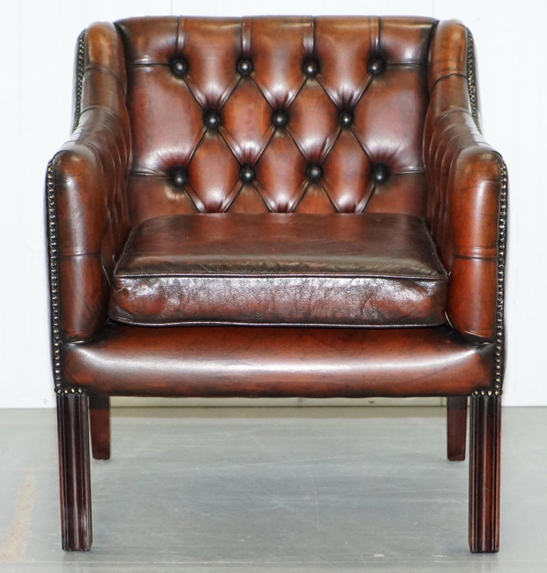 Vintage Restored Chesterfield Brown Leather Gun Suite 3-Seat Sofa and Armchair For Sale 10