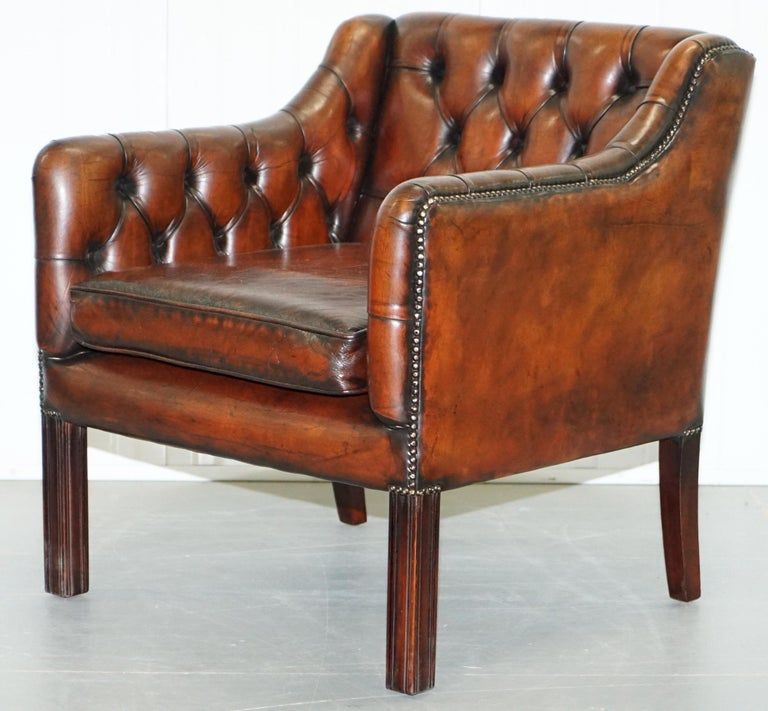 Vintage Restored Chesterfield Brown Leather Gun Suite 3-Seat Sofa and Armchair For Sale 11