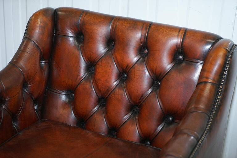 Vintage Restored Chesterfield Brown Leather Gun Suite 3-Seat Sofa and Armchair For Sale 12