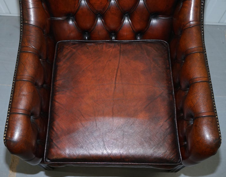 Vintage Restored Chesterfield Brown Leather Gun Suite 3-Seat Sofa and Armchair For Sale 13