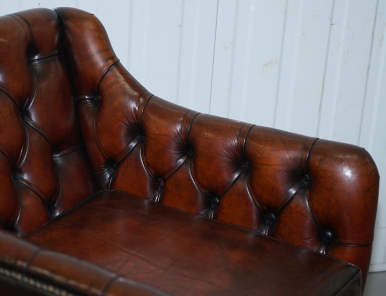 Vintage Restored Chesterfield Brown Leather Gun Suite 3-Seat Sofa and Armchair For Sale 14