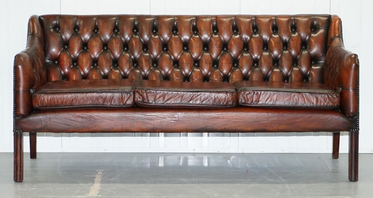 English Vintage Restored Chesterfield Brown Leather Gun Suite 3-Seat Sofa and Armchair For Sale