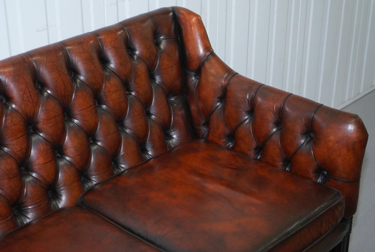 Hand-Crafted Vintage Restored Chesterfield Brown Leather Gun Suite 3-Seat Sofa and Armchair For Sale