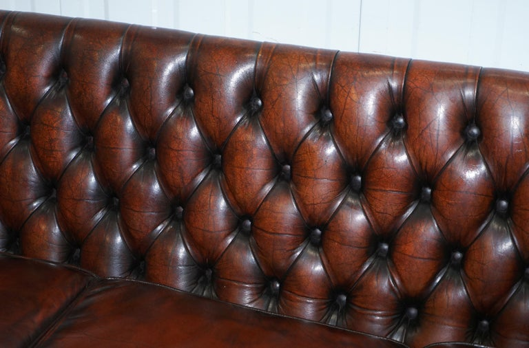 Vintage Restored Chesterfield Brown Leather Gun Suite 3-Seat Sofa and Armchair In Good Condition For Sale In London, GB