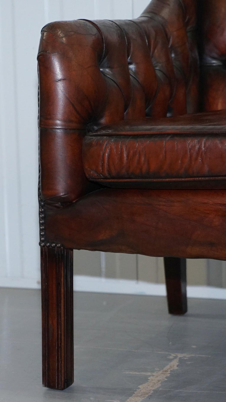 Vintage Restored Chesterfield Brown Leather Gun Suite 3-Seat Sofa and Armchair For Sale 3