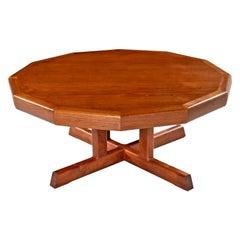 Vintage Restored Danish Modern Dodecagon Teak Coffee Table Made in Canada