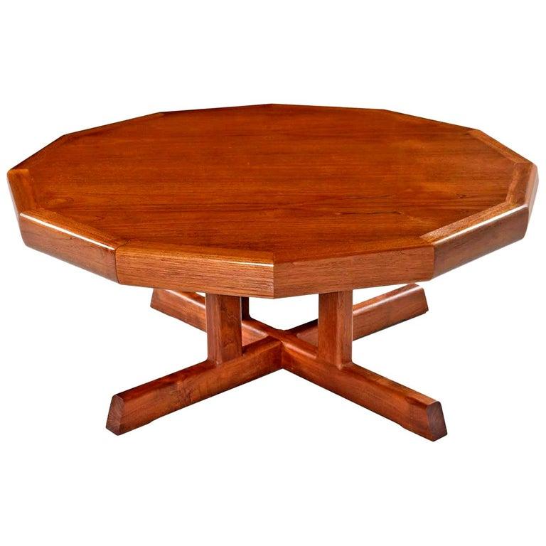 Vintage Restored Danish Modern Dodecagon Teak Coffee Table Made In