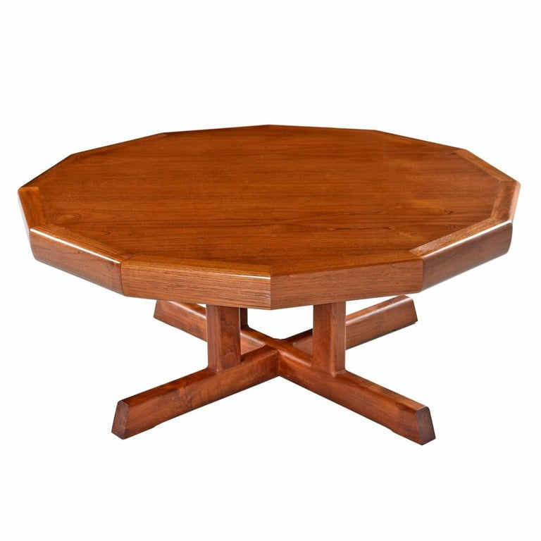 Vintage Red Danish Modern Dodecagon Teak Coffee Table Made In Canada For