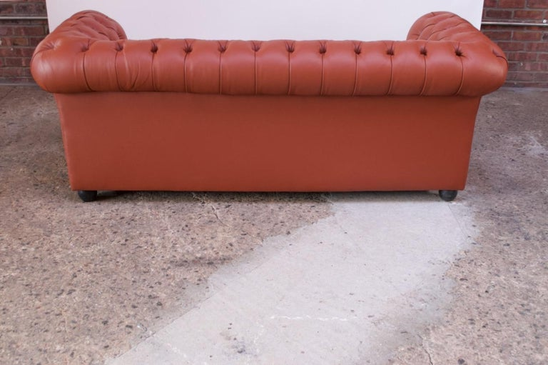 Vintage Restored English Leather Chesterfield Sofa For Sale 4