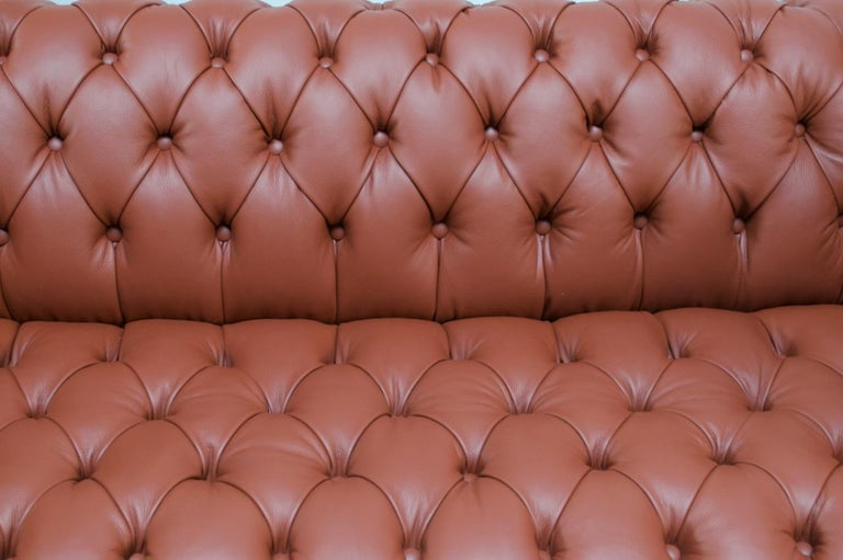 Vintage Restored English Leather Chesterfield Sofa For Sale 5