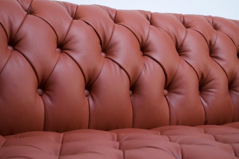 Vintage Restored English Leather Chesterfield Sofa For Sale 6