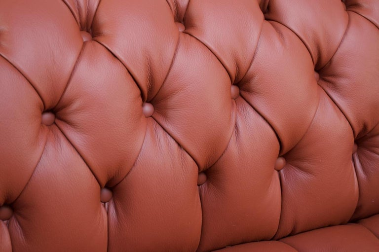 Vintage Restored English Leather Chesterfield Sofa For Sale 7