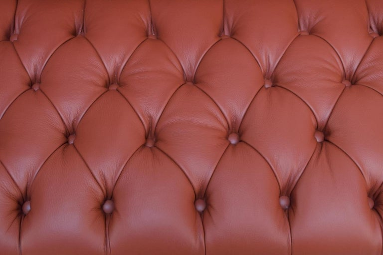 Vintage Restored English Leather Chesterfield Sofa For Sale 8