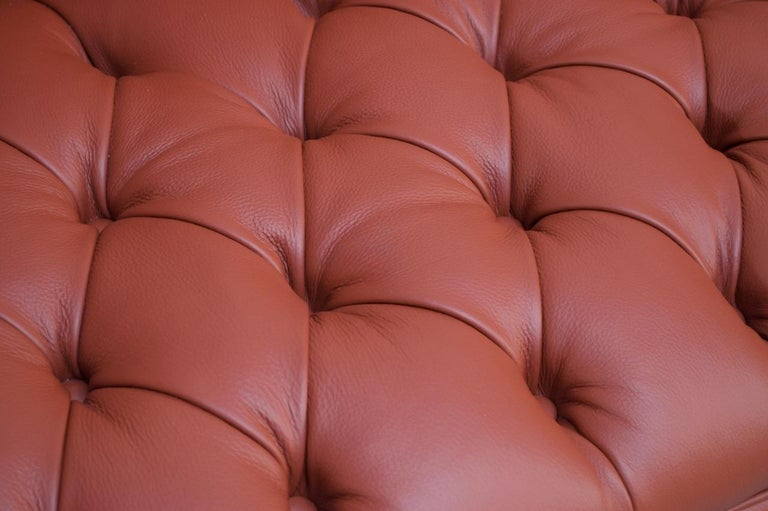Vintage Restored English Leather Chesterfield Sofa For Sale 9