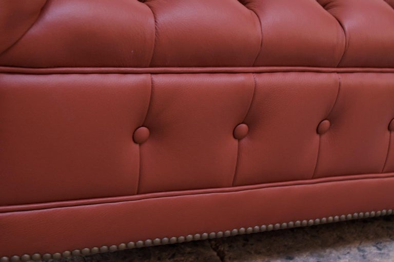 Vintage Restored English Leather Chesterfield Sofa For Sale 10