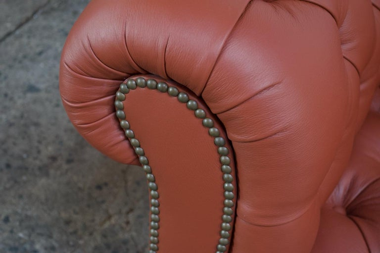 Vintage Restored English Leather Chesterfield Sofa For Sale 14
