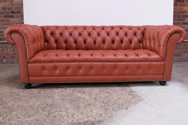 Ebonized Vintage Restored English Leather Chesterfield Sofa For Sale