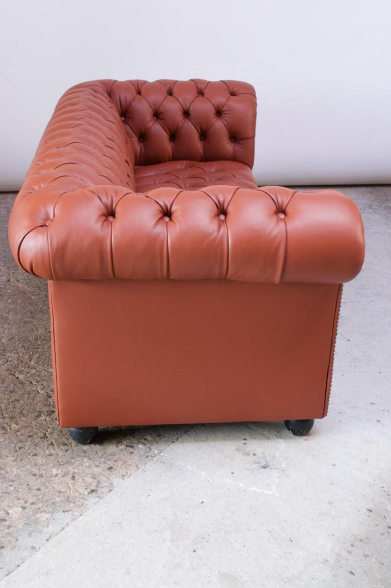 Resin Vintage Restored English Leather Chesterfield Sofa For Sale