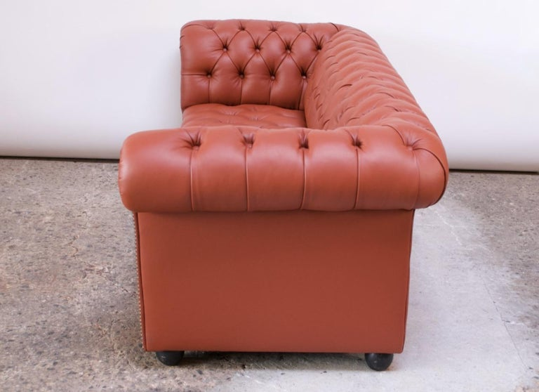Vintage Restored English Leather Chesterfield Sofa For Sale 1