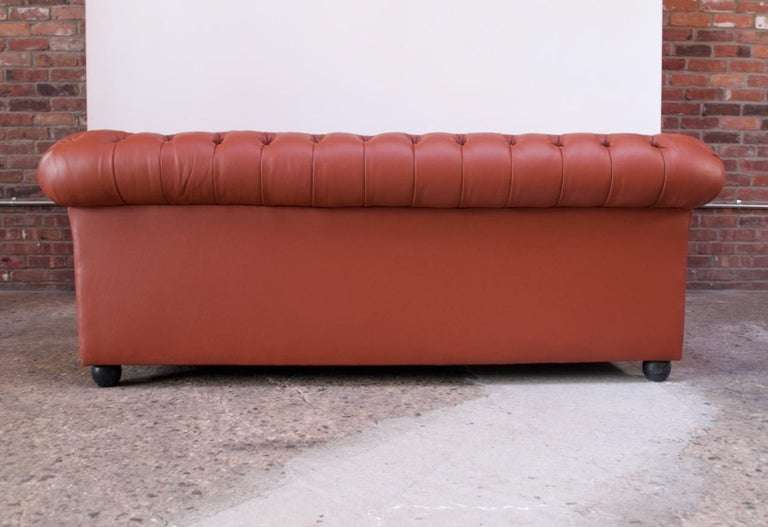 Vintage Restored English Leather Chesterfield Sofa For Sale 3
