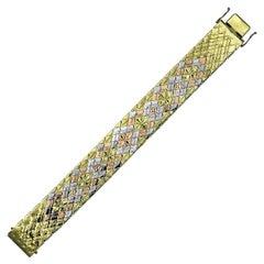 Vintage/Retro 18-Carat Yellow, White & Rose Gold Mesh Tessellation Bracelet