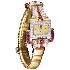 Vintage Retro 18 Karat Yellow Gold Diamond and Ruby Watch