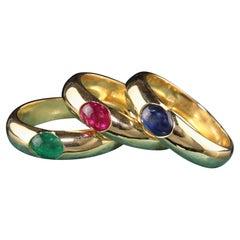 Vintage Retro 18K Yellow Gold Ruby Emerald Sapphire Gypsy Ring Set