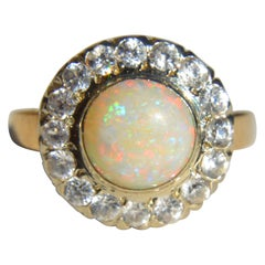 Vintage Retro 1940s 2.04 Carat Opal Diamond 14 Karat Gold Halo Engagement Ring