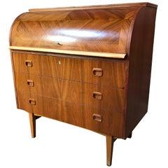 Vintage Retro 1960 Danish Round Top Teak Desk