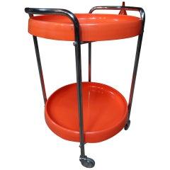 Vintage Retro 1960's Chrome Round Orange Trolley / Table