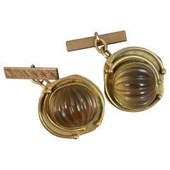 Vintage Retro 9 Carat Gold and Smoky Quartz Pair of Cufflinks