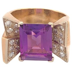 Vintage Retro Bow Design 6C Amethyst Diamond Yellow Gold Ring
