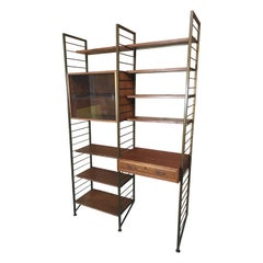 Vintage Retro Bronzed Metal Framed Teak Living Room / Wall System