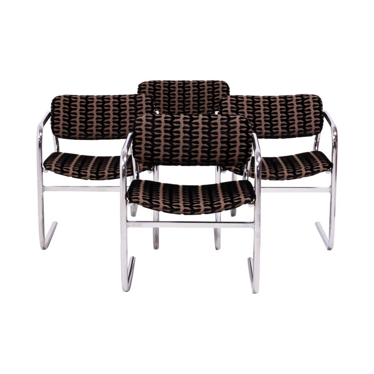 Vintage Retro Brown And Black Fabric Dining Chairs By Pieff Set Of 4 For Sale At 1stdibs