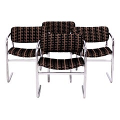 Vintage Retro Brown and Black Fabric Dining Chairs by Pieff, Set of 4