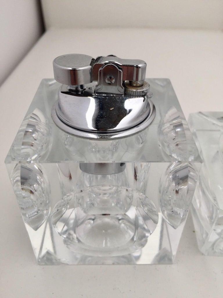 Vintage Retro Cut Glass Square Lighter And Ashtray Set