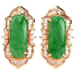 Vintage Retro Diamond Green Jade 18 Karat Gold Clip-On Earrings