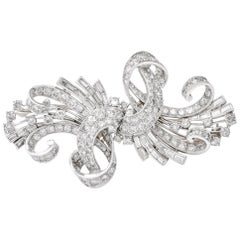 Vintage Retro Diamond Platinum Double Clip Brooch Pin