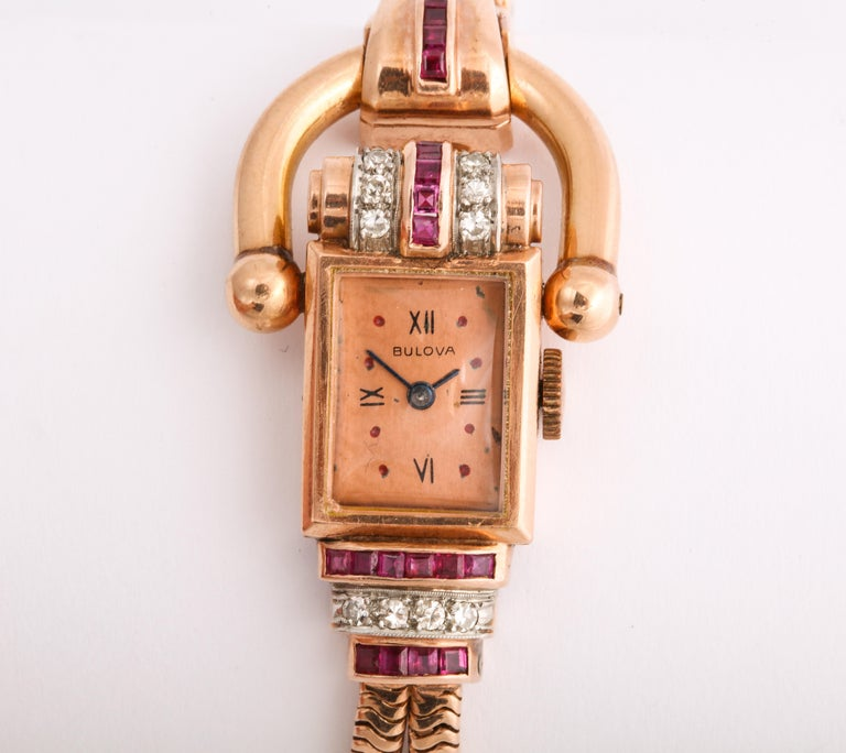 Vintage Retro Equestrian Theme Ruby and Diamond Ladies Watch For Sale 3
