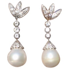 Vintage Retro Estate 14 Karat Gold Drop Dangle South Seas Pearl Diamond Earrings